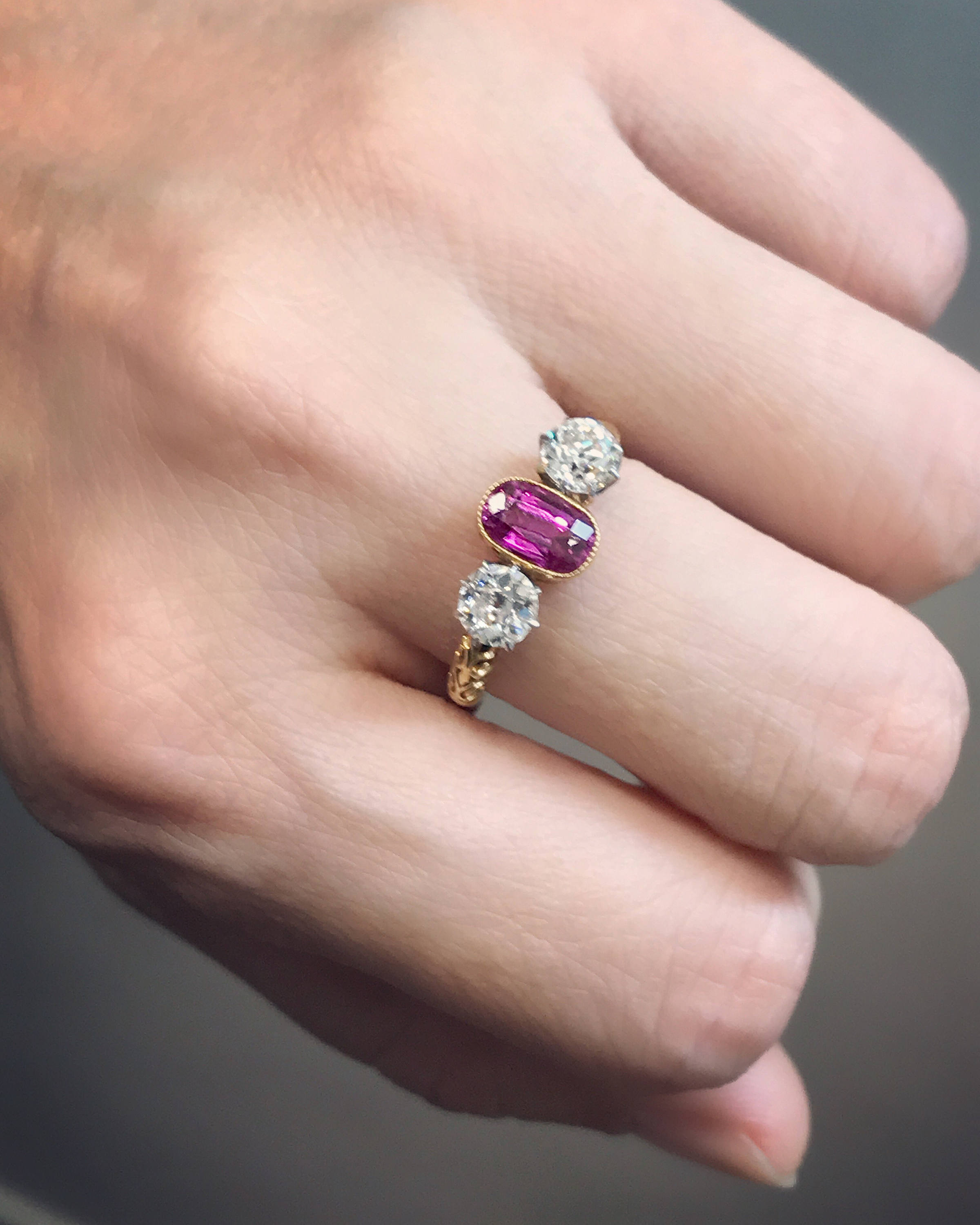 Antique late Victorian pink sapphire and diamond ring from about ...