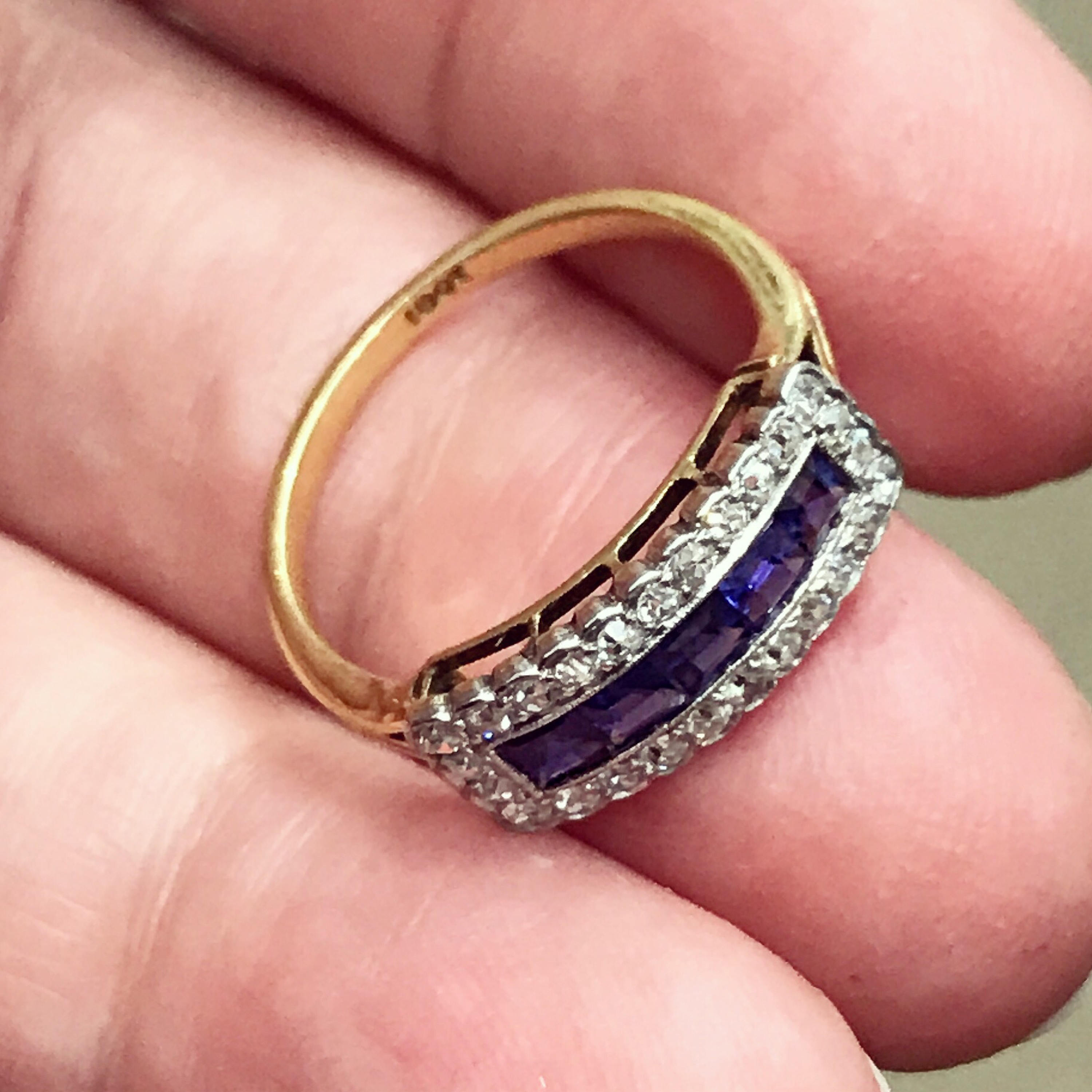 Edwardian/Art Deco sapphire and diamond ring from about 1920 | Karen ...