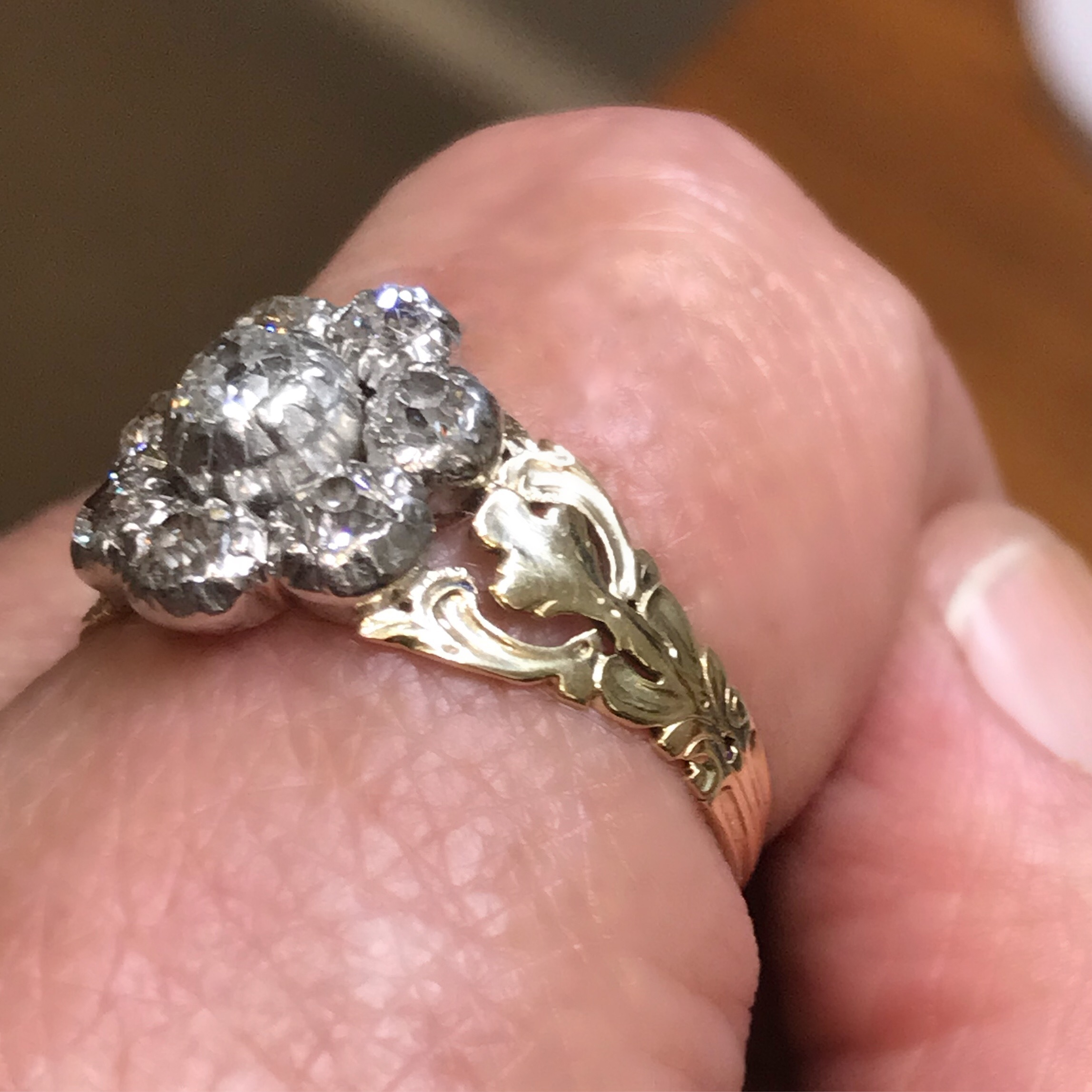 Antique Georgian Revival old mine cut diamond cluster ring from ...